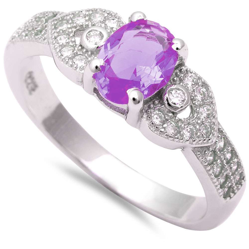 Oval Amethyst & Micro Pave Cz Fashion .925 Sterling Silver Ring Sizes 5-9