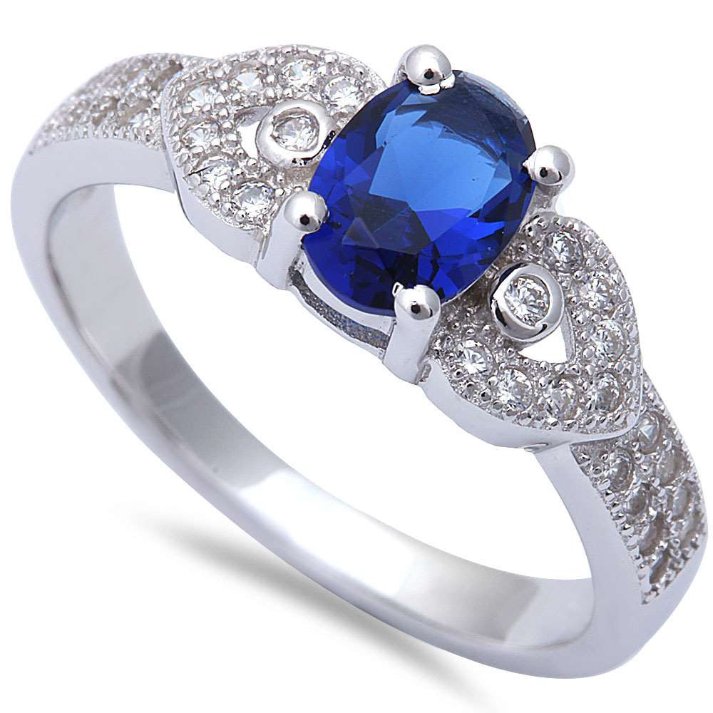 Oval Blue SApphire & Micro Pave Cz Fashion .925 Sterling Silver Ring Sizes 5-9