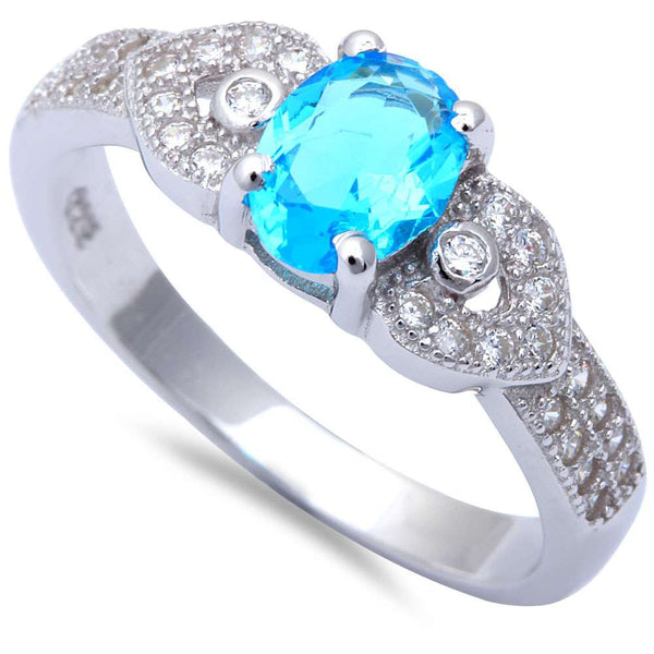 Oval Blue Topaz & Micro Pave Cz Fashion .925 Sterling Silver Ring Sizes 5-9