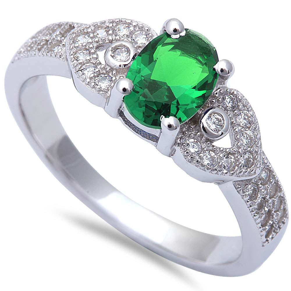 Oval Green Emerald & Micro Pave Cz Fashion .925 Sterling Silver Ring Sizes 5-9