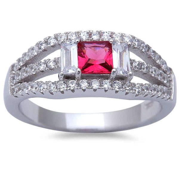 Ruby & Cz Fashion .925 Sterling Silver Ring Sizes 6-9