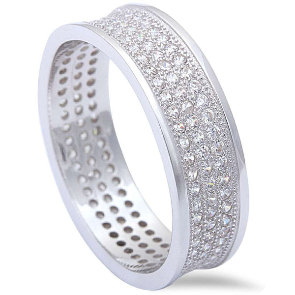 Men's Women's 2CT Micro Pave Cz Wedding Engagement Band .925 Sterling Silver Ring Sizes 7-11