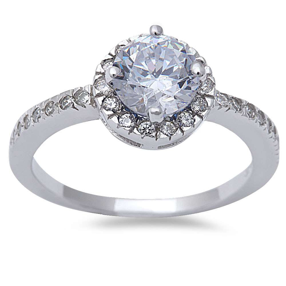 Halo Style White Cz .925 Sterling Silver Ring Sizes 6-9