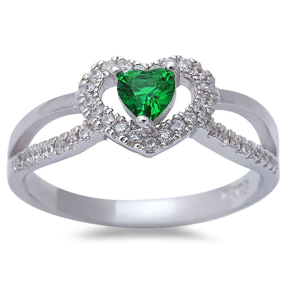 New Style Green Emerlad & Micro Pace Cz .925 Sterling Silver Ring Sizes 5-9