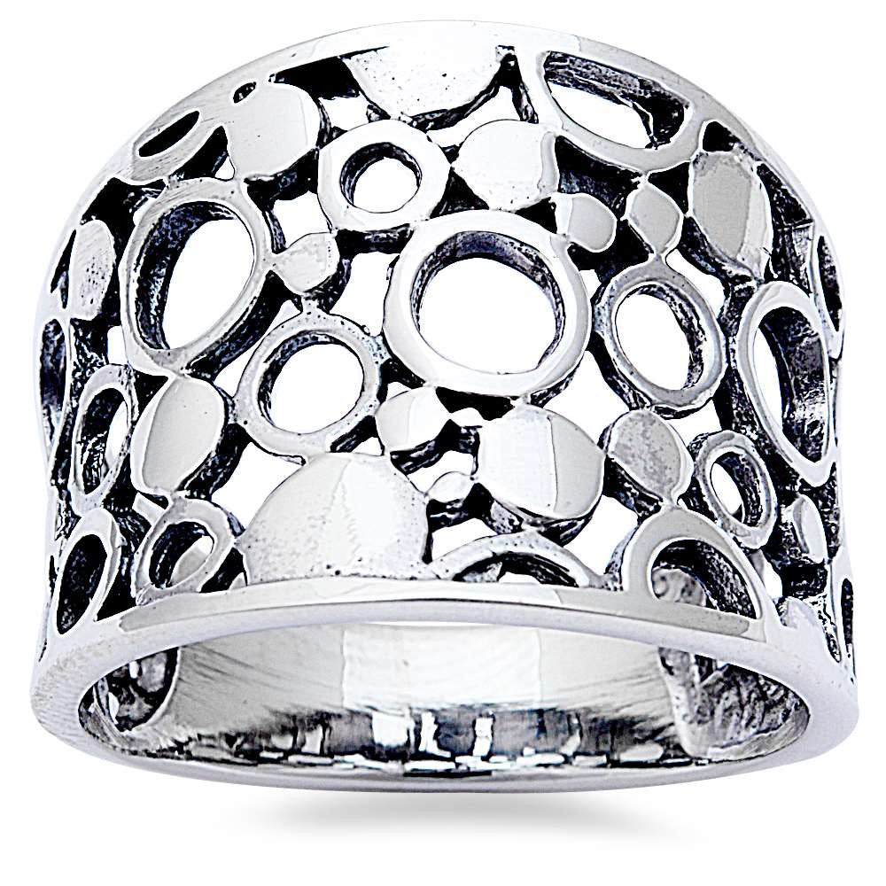 New Hollow & Solid Circle Design .925 Sterling Silver Ring Sizes 6-10