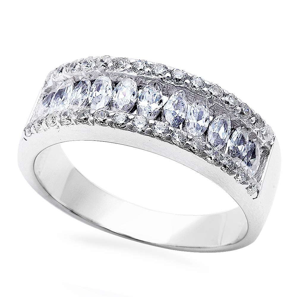 Round & Marquise Cz Wedding Fashion Band .925 Sterling Silver Ring Sizes 5-10