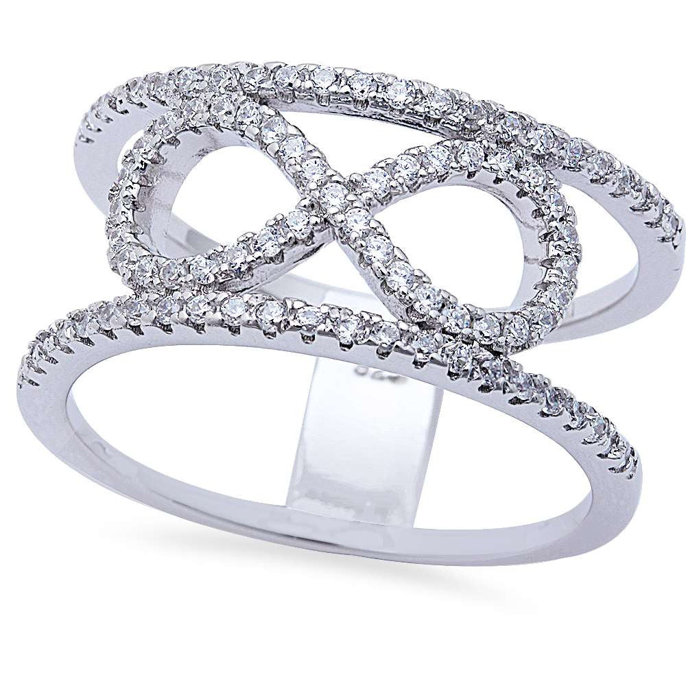 Cz Infinity Band .925 Sterling Silver Ring Sizes 6-10