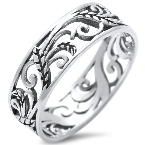 <span>CLOSEOUT!</span>  Leave Celtic Design Fashion Band .925 Sterling Silver Ring Sizes 5-11