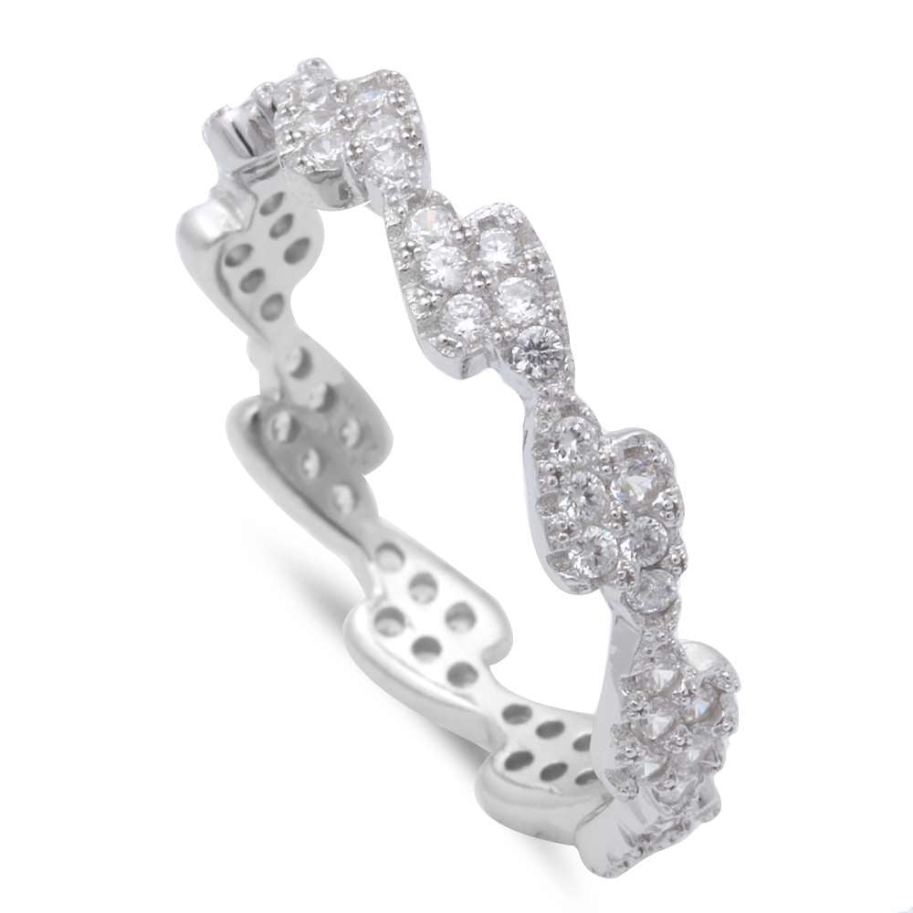 New Design Micro Pave Cz Band .925 Sterling Silver Ring Sizes 5-9