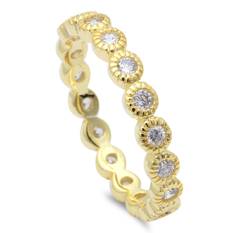 Yellow Gold Plated Eternity .925 Sterling Silver Ring Sizes 4-10