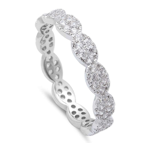 Ladies Micro Pave Cz Eternity Style Band .925 Sterling Silver Ring Sizes 5-9