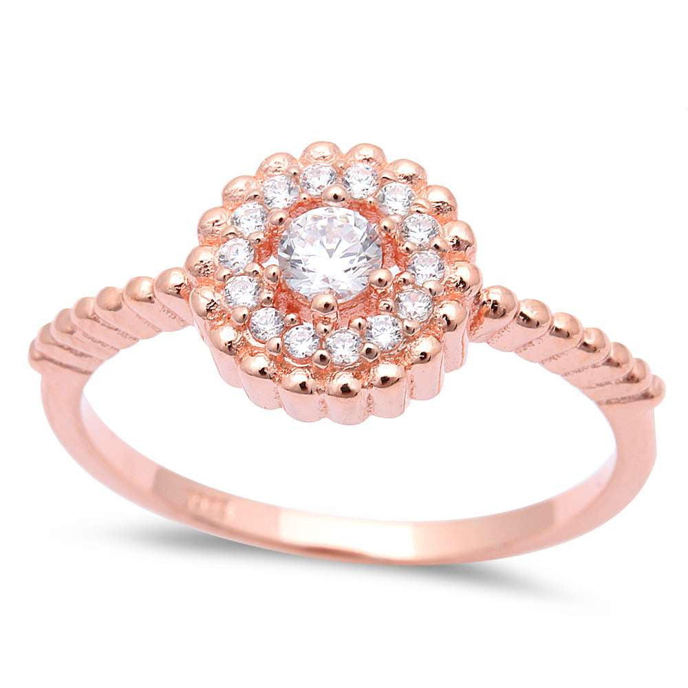 Rose Gold Plated Cz .925 Sterling Silver Ring Sizes 5-9