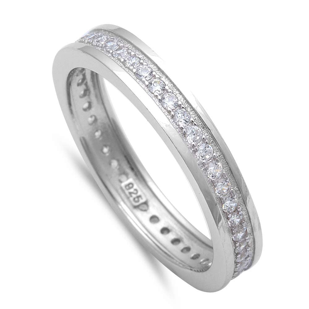 Men's Cz Eternity Wedding Engagement Band .925 Sterling Silver Ring Sizes 9-11