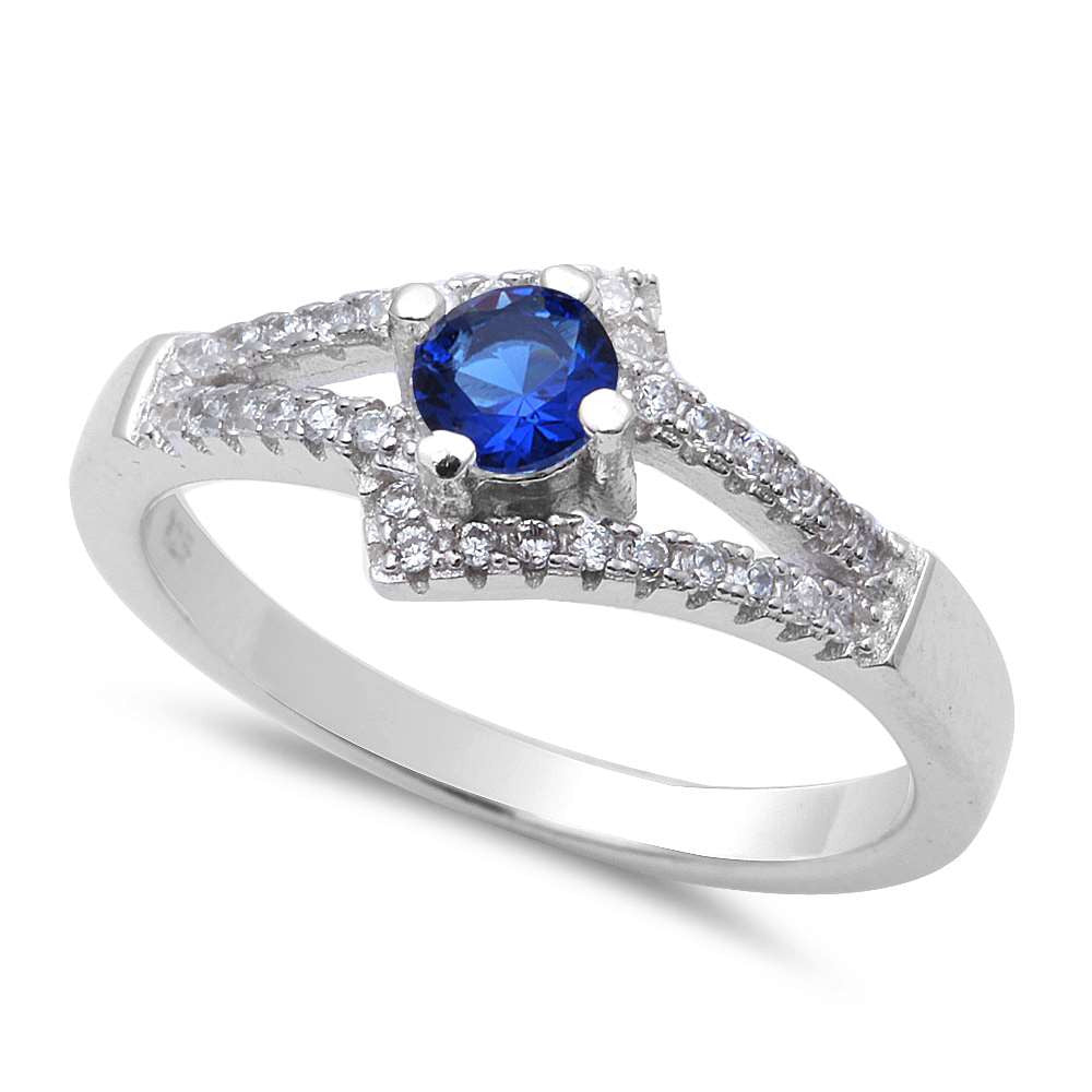 New Design Blue Sapphire & Cz .925 Sterling Silver Ring Sizes 5-9
