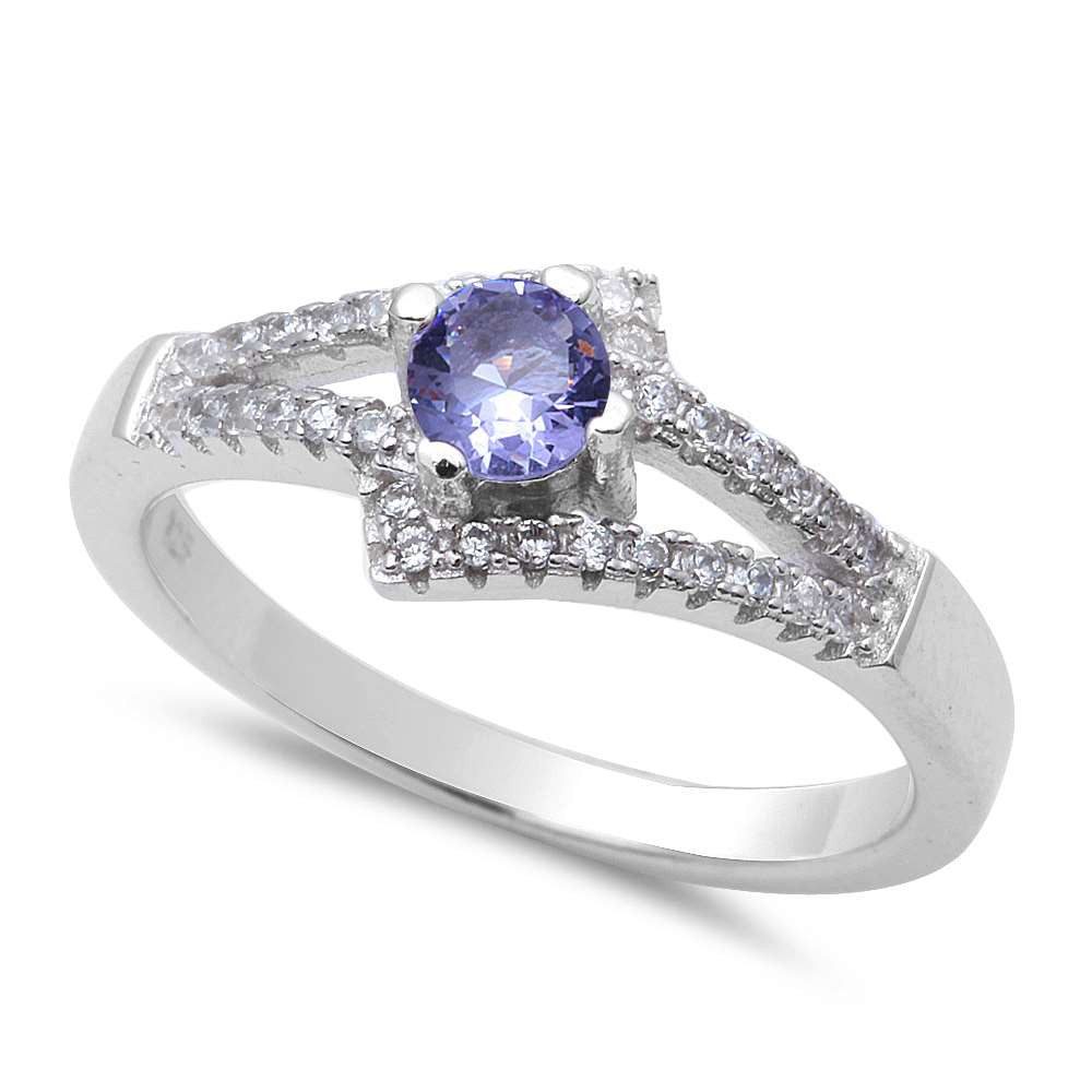 New Design Tanzanite & Cz .925 Sterling Silver Ring Sizes 5-9