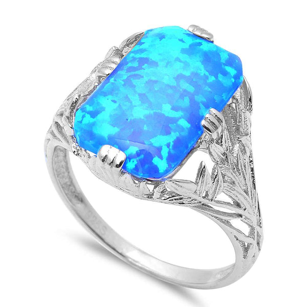 New Radiant Cut Blue Fire Opal .925 Sterling Silver Ring Sizes 5-9