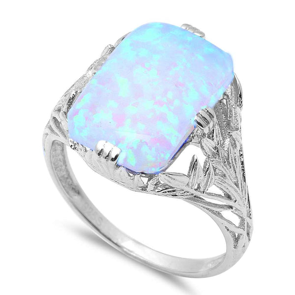 New Radiant Cut White Fire Opal .925 Sterling Silver Ring Sizes 5-9