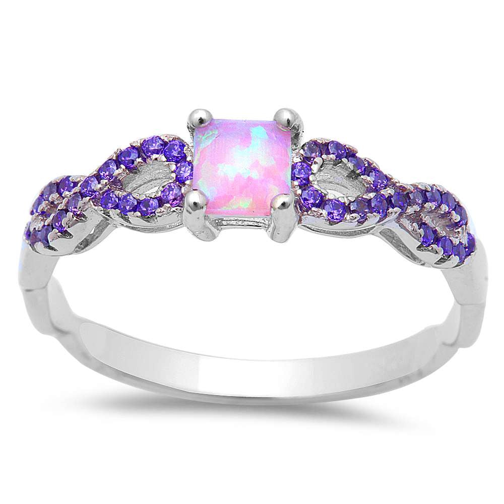 Pink Opal w/ Amethyst Inifnity .925 Sterling Silver Ring Sizes 5-8