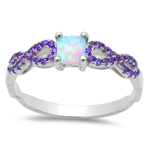 White Opal w/ Amethyst Inifnity  .925 Sterling Silver Ring Sizes 5-8