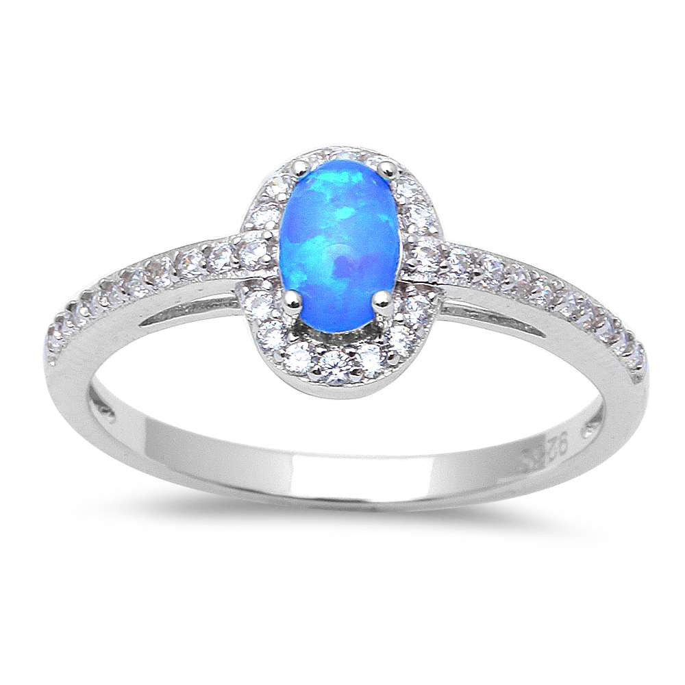 Gift! White Opal & Cz .925 Sterling Silver Ring Sizes 5-9