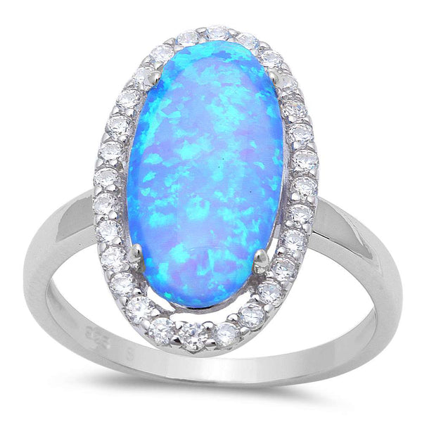 Halo Oval Blue Fire Opal & Cz .925 Sterling Silver Ring Sizes 5-8