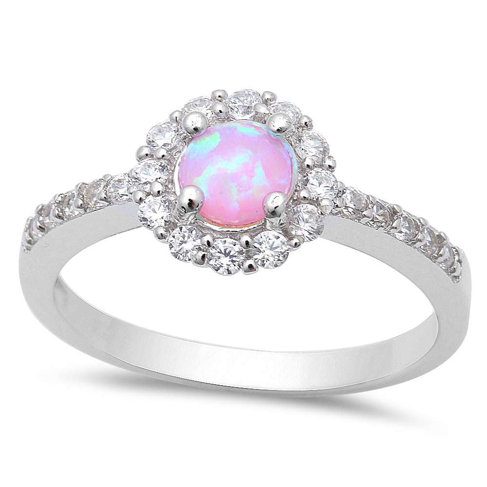 Round Pink Opal & Cz .925 Sterling Silver Ring Sizes 5-8