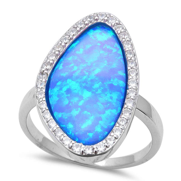 New Shape Blue Fire Opal & Cz .925 Sterling Silver Ring Sizes 6-8
