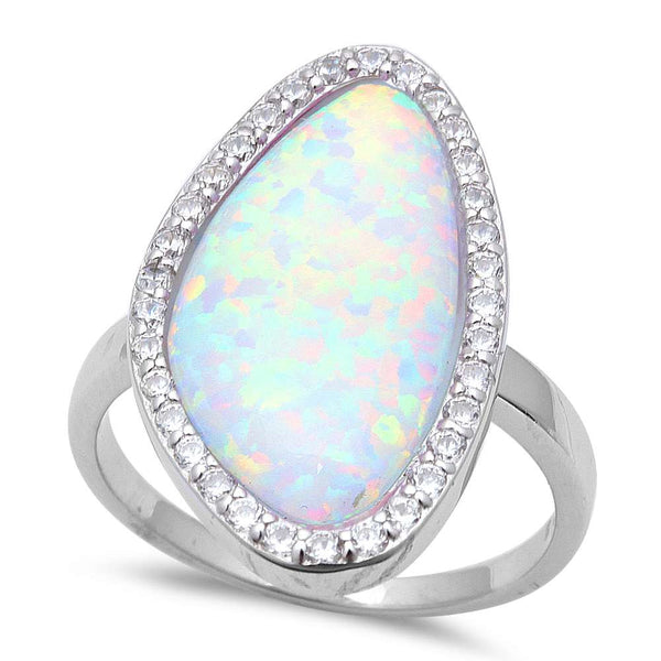 New Shape White Fire Opal & Cz .925 Sterling Silver Ring Sizes 6-8