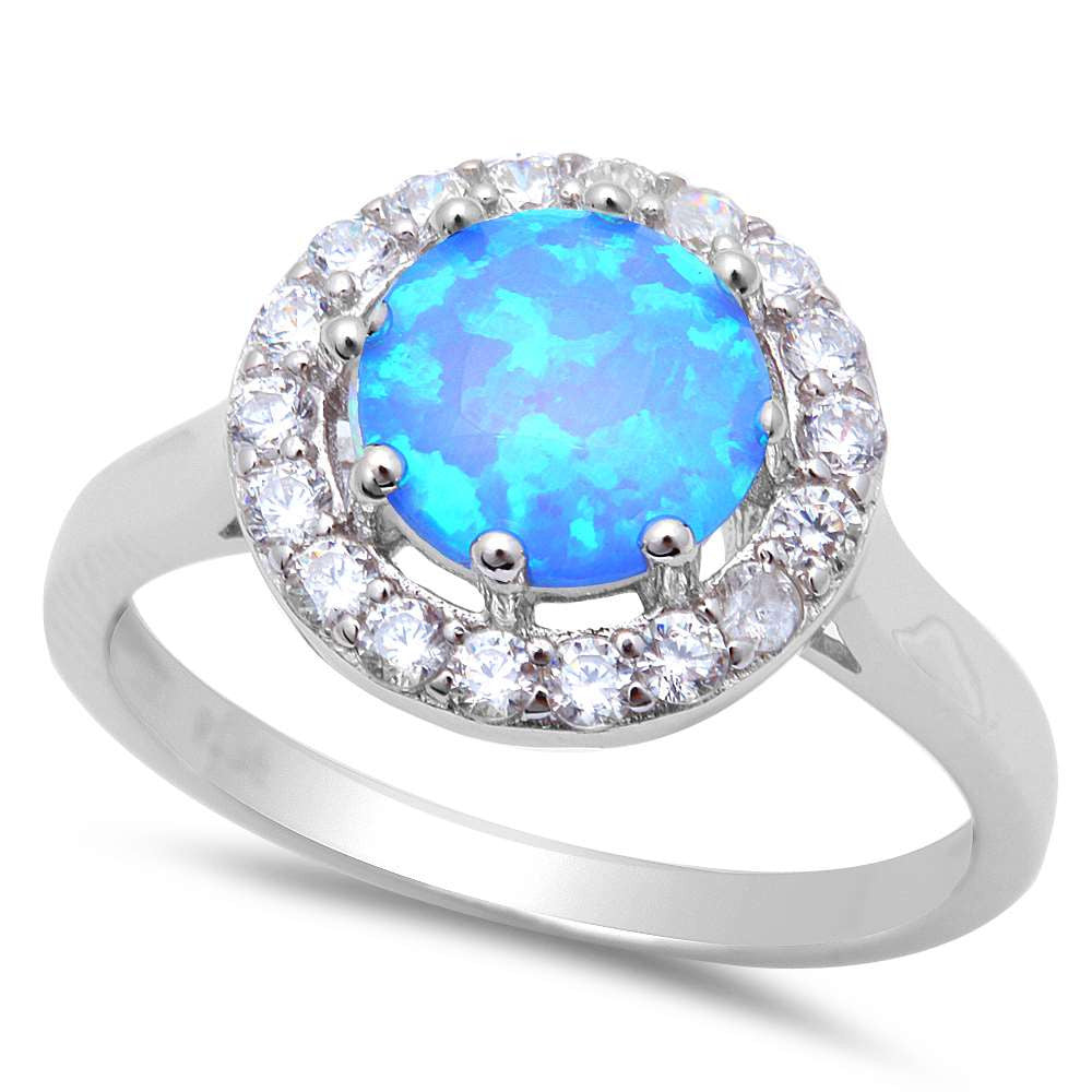 8 Prong Halo Style Blue Fire Opal & Cz .925 Sterling Silver Ring Sizes 5-8