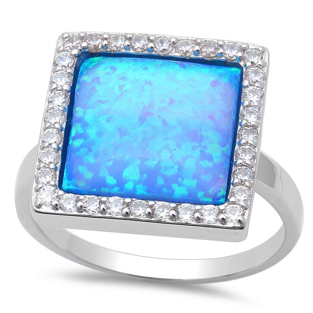 New! Blue Fire Opal & Cz .925 Sterling Silver Ring Sizes 6-8