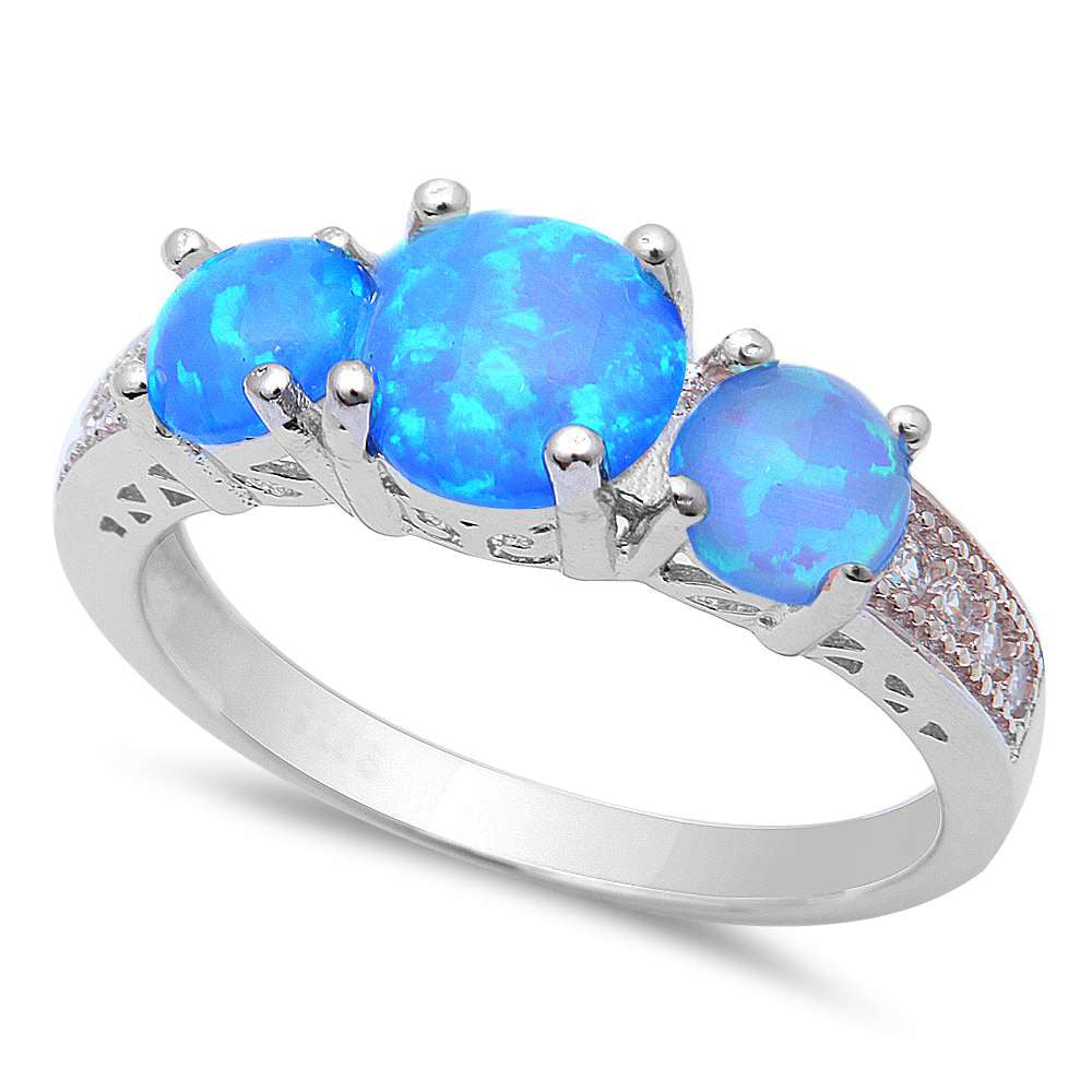New! 3 Blue Fire Opal & Cz .925 Sterling Silver Ring Sizes 5-8