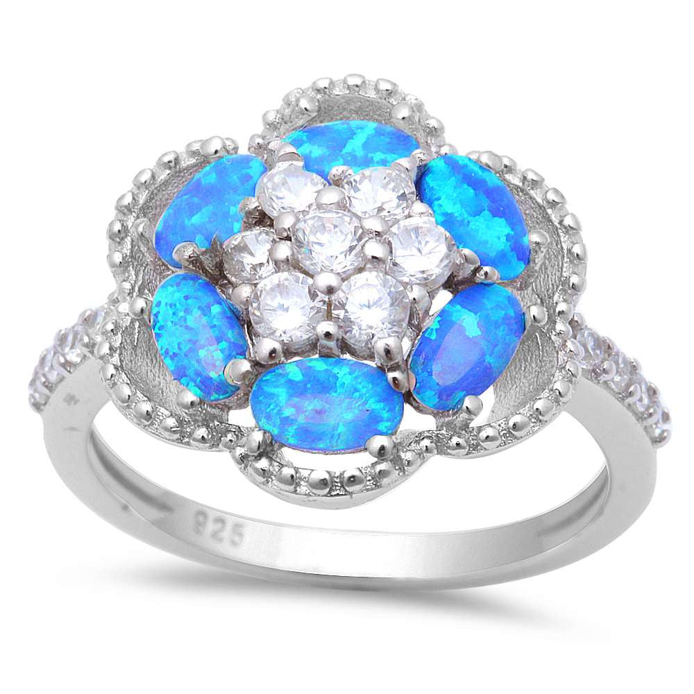 Blue Fire Opal & Cz .925 Sterling Silver Ring Sizes 5-8