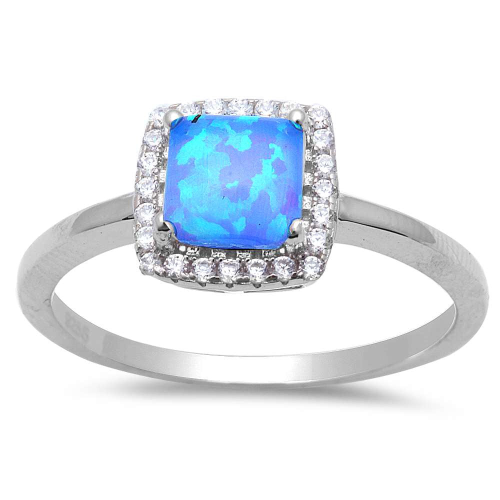 Square Blue Fire Opal & Cz .925 Sterling Silver Ring Sizes 5-8