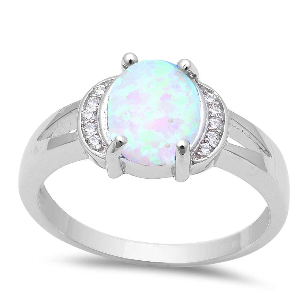 Oval White Fire Opal & Cz .925 Sterling Silver Ring Sizes 5-8