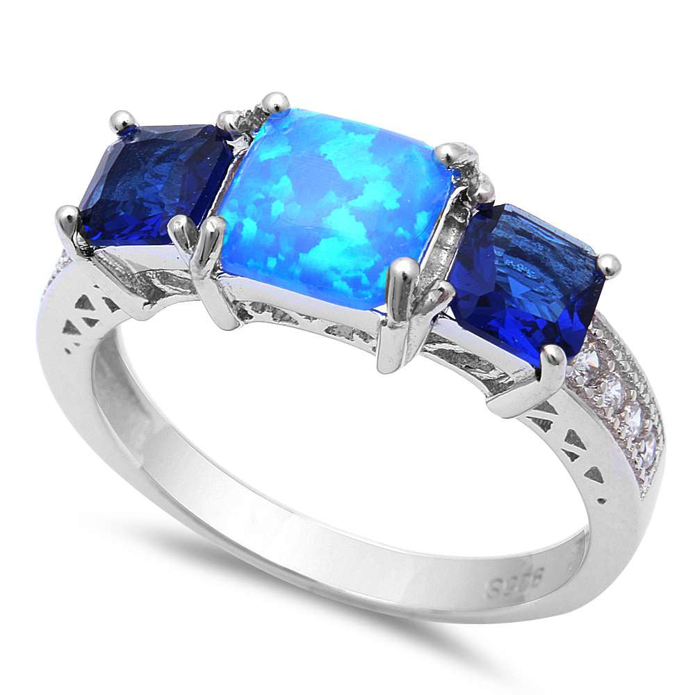Princess Cut Blue Opal, Blue Sapphire & Cz .925 Sterling Silver Ring Sizes 5-8