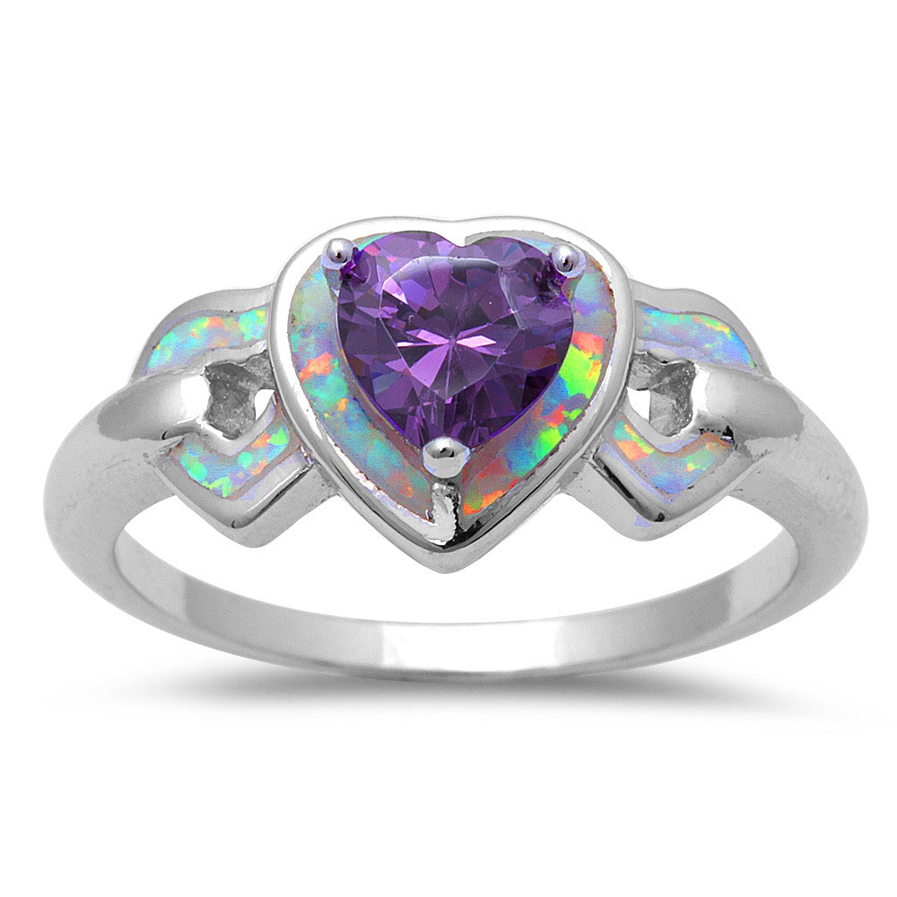 White Opal & Amethyst Hearts .925 Sterling Silver Ring Sizes 6-9