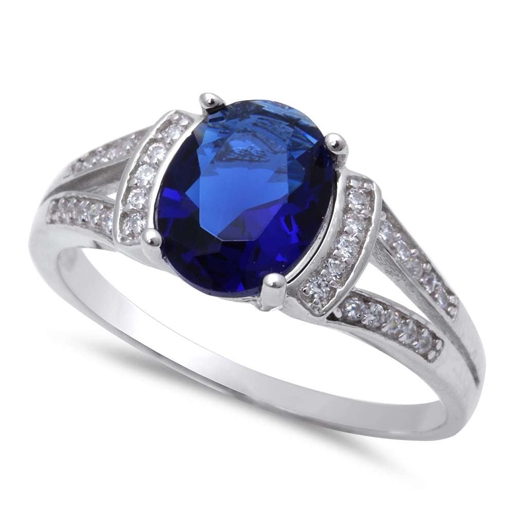 Oval Shape Blue Sapphire & Cubic Zirconia .925 Sterling Silver Ring Sizes 5-10