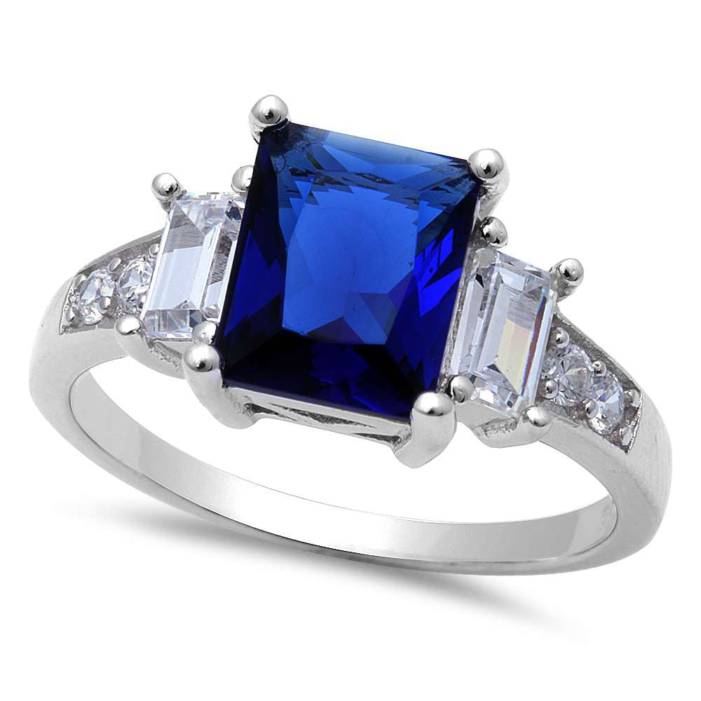 Blue Sapphire & Cubic Zirconia .925 Sterling Silver Ring Sizes 5-10