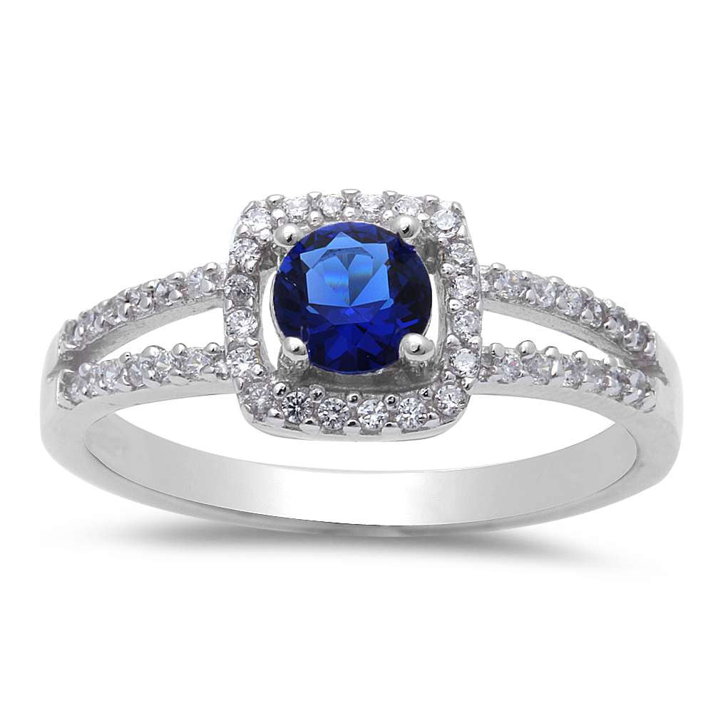 Cushion Shape Blue Sapphire Cubic Zirconia .925 Sterling Silver Ring Sizes 5-9
