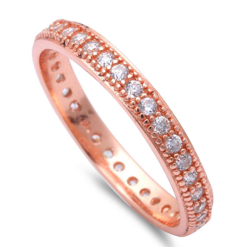 Rose Gold Plated Cubic Zirconia Eternity Band .925 Sterling Silver Ring Sizes 4-10