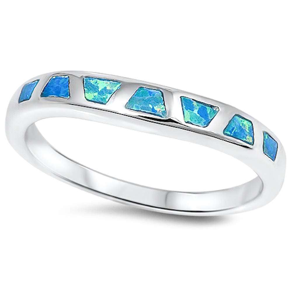 Blue Opal Fashion Band .925 Sterling Silver Ring Sizes 5-10