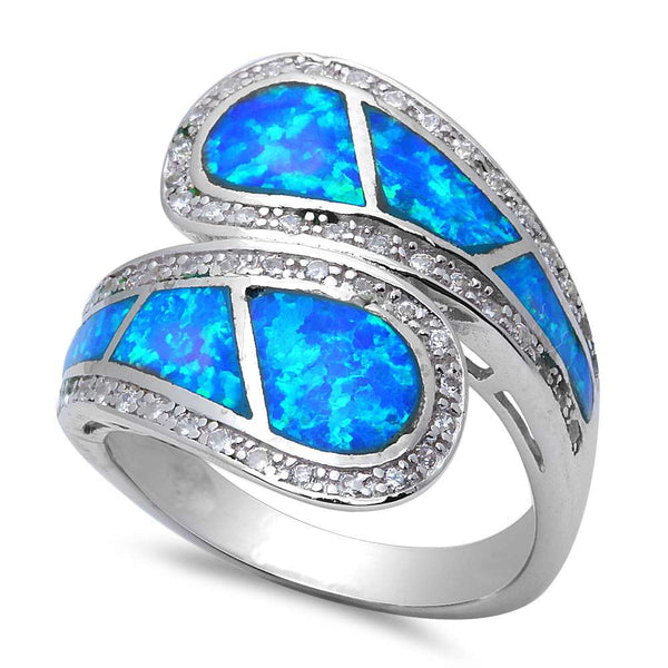 Blue Opal & Cz .925 Sterling Silver Ring Size 6-10