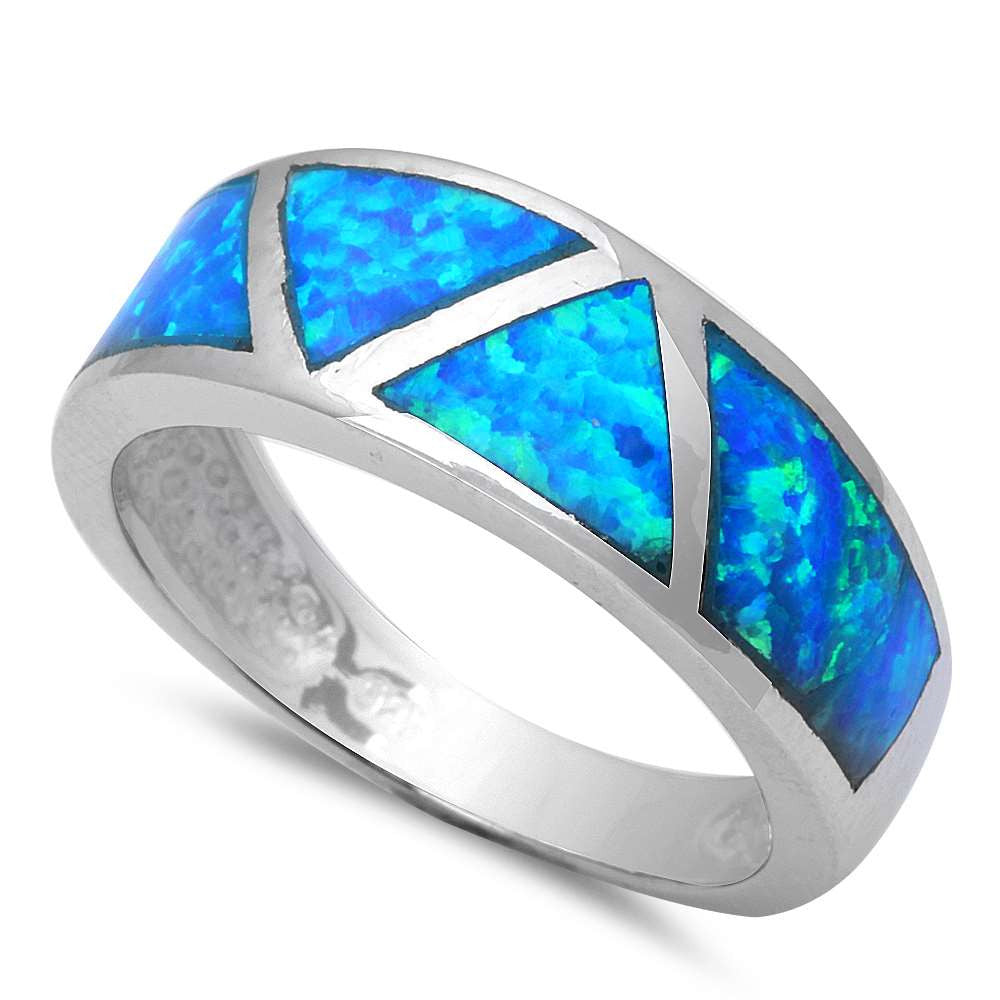 Blue Opal Fashion Band .925 Sterling Silver Ring Size 6-9