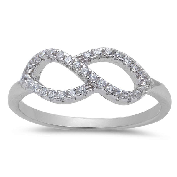 New Infinity Design Cubic Zirconia .925 Sterling Silver Ring Size 4-9