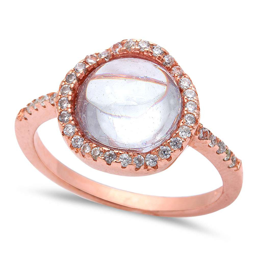Rose Gold Plated White Cabochon Cubic Zirconia .925 Sterling Silver Ring Size 5-10