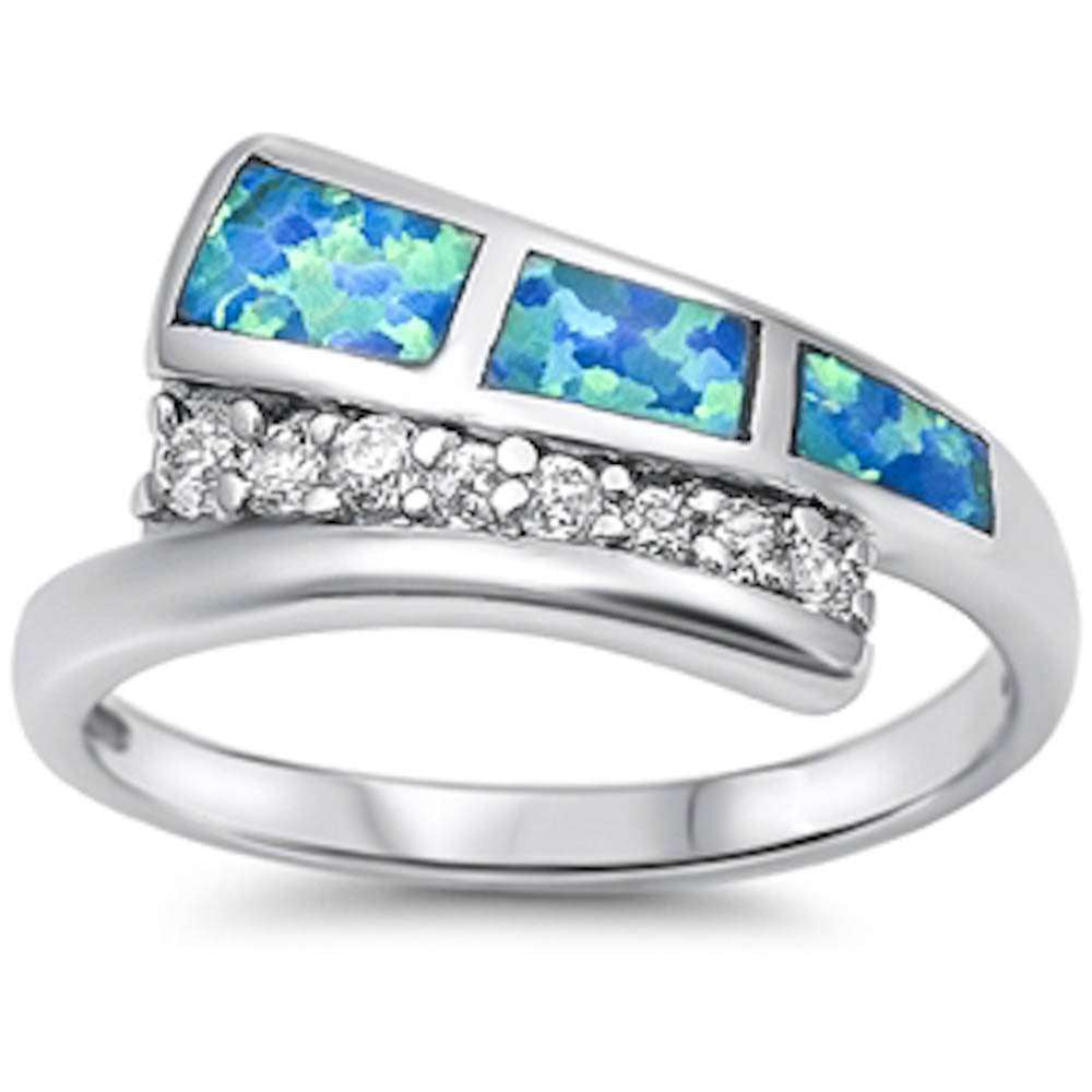 Blue Opal & Cz Fashion .925 Sterling Silver Ring Sizes 6-10