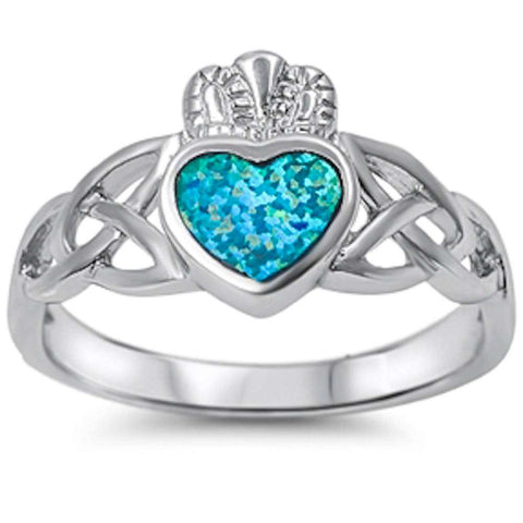 Blue Opal Heart Irish Claddagh w/ Celtic Design Band .925 Sterling Silver Ring Sizes 5-10