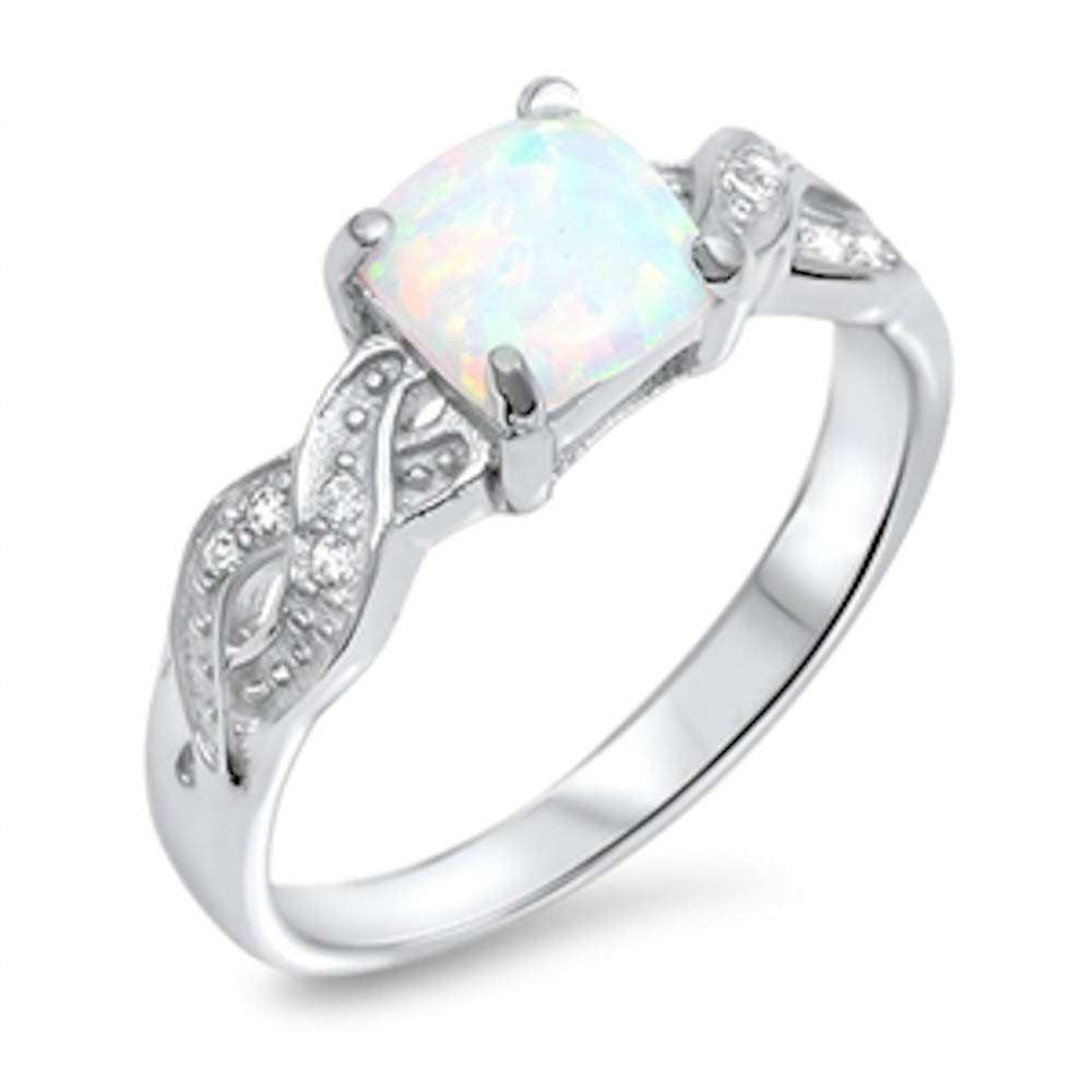 Princess Cut Opal Infinity Cz .925 Sterling Silver Ring Sizes 4-10