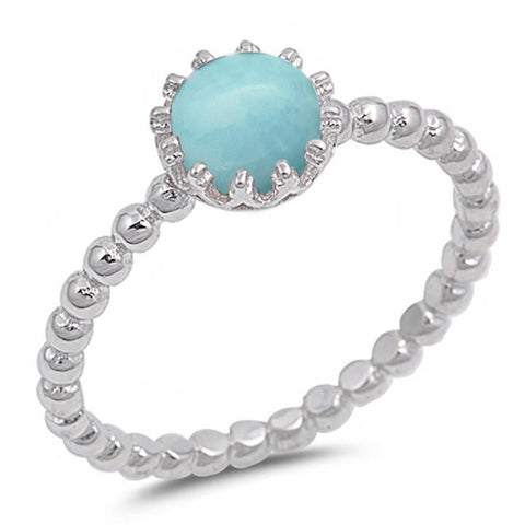 Round Natural Larimar Crown .925 Sterling Silver Ring Sizes 6-9