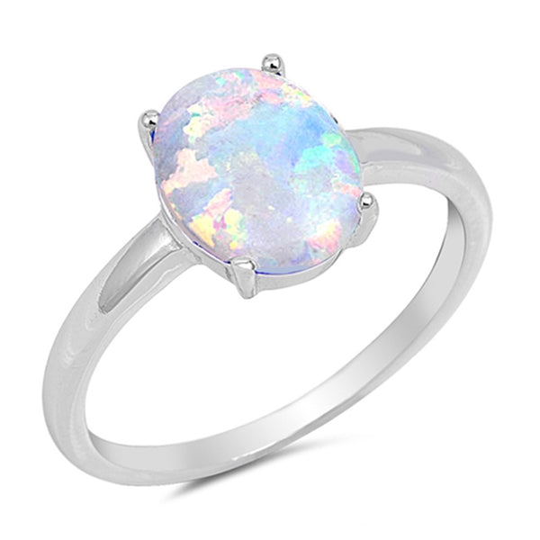 Solid Oval White Opal  .925 Sterling Silver Ring Sizes 4-12
